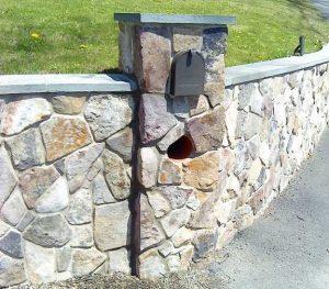 Stone Veneer Wall With Mailbox